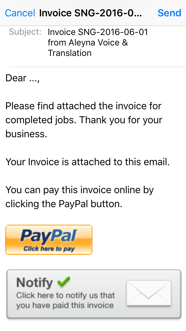 thank you for your business invoice
