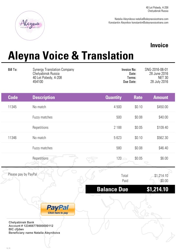 invoices in freelance, Invoice templates